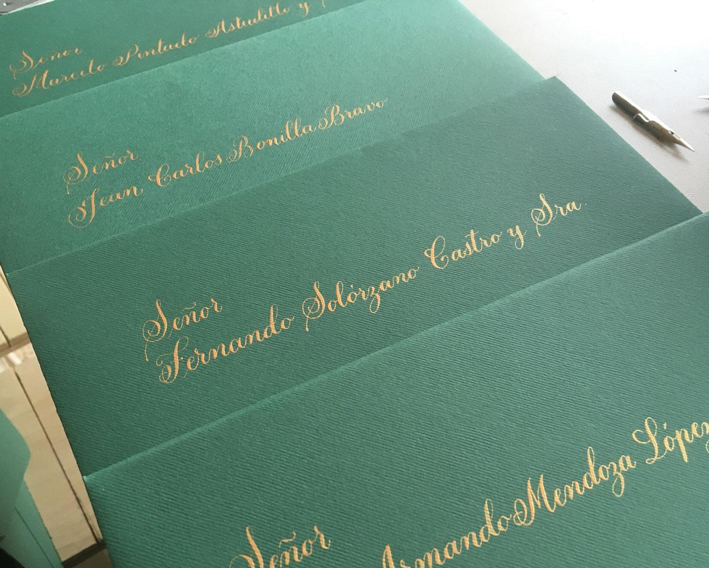 invitacion de boda con caligrafia tracional