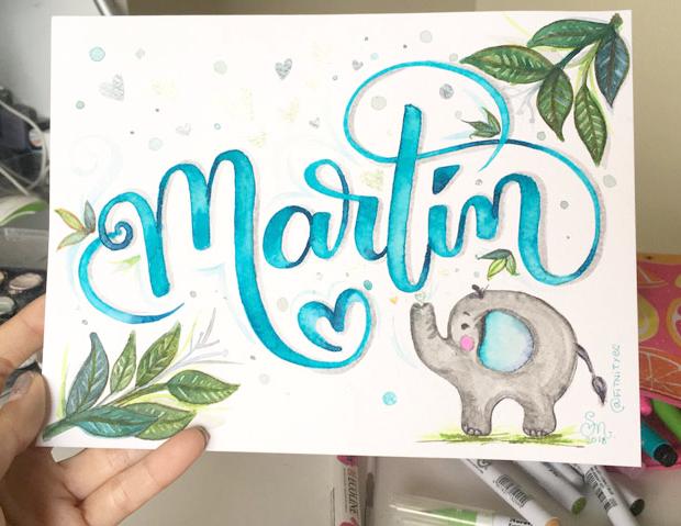 Nombre con Pincel Martin